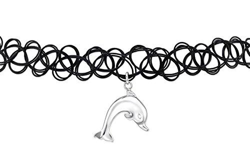 Luna Jule Choker Halsband Kette mit Delphin Anhänger aus 925 Silber & Tattoo-Band schwarz elastisch - Gothic necklace