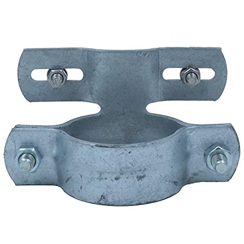 Kleberio® 1 Rohrschellen DN60 (Bohrlochabstand 50-100mm) verzinkt für Rundrohr 60mm Rohrschelle für Schilderbefestigung Rohrhalterung Schellen Set inklusive Befestigungsschrauben für das Schild