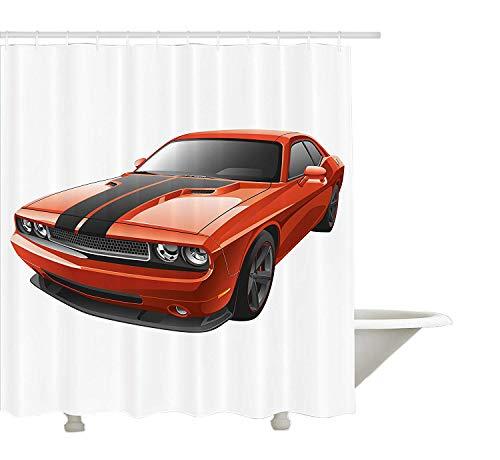 Yeuss Jungenzimmer Duschvorhang,Modern Muscle Car Exotic Sports Hobby Aktivität Freizeit Konzept Design,Stoff Badezimmer Dekor Set mit Haken,Orange Anthrazit