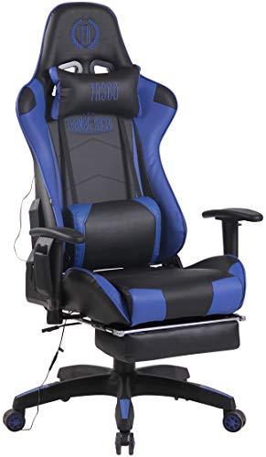 CLP Chefsessel Turbo XFM Kunstleder mit Massagefunktion l Höhenverstellbarer Bürostuhl mit ausziehbarer Fußablage und beheizbarem Sitzbereich, Farbe:schwarz/blau