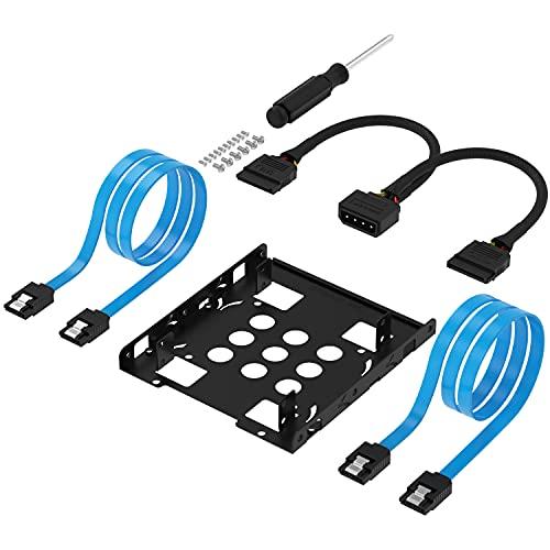 Sabrent Festplatten-Zubehör Einbaurahmen, 3.5-Zoll-SSD zu x2 / 2,5-Zoll-Festplattenlaufwerk Interner Einbaurahmen-Montagesatz [SATA und Stromkabel im Lieferumfang enthalten] (BK-HDCC)