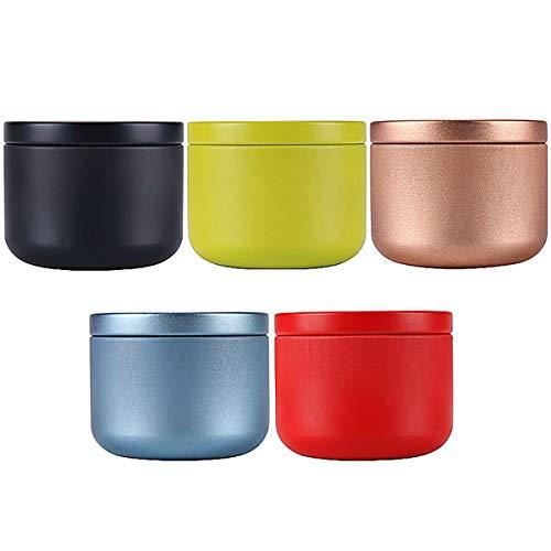 MOTZU 5 Pack Teedose für Losen Tee,Mini Tee Vorratsdose Kaffeedose Metall,Rund Teedose mit Aromadeckel,Luftdicht Kleine Tee Vorratsbehälter Container,Tragbare Aufbewahrungsbox für Kaffee/Süßigkeiten