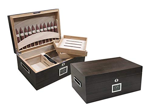 Prestige Import Group - Rockefeller Built-in Partitioned Display Cigar Humidor - Capacity: 130 - Color: Matte Ebony Finish