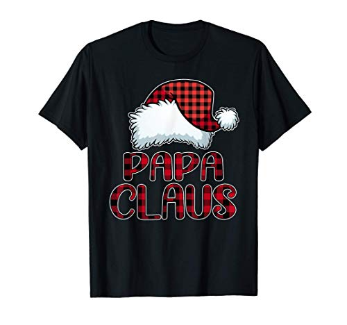 Papa Claus Santa Hat Red Buffalo Plaid Christmas Pajama T-Shirt