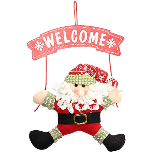 Zoe home 1pcs Santa Claus Puerta Colgando del árbol de Navidad Decoraciones de Navidad for Colgar Regalos Ornamento Colgante no Tejidas al Aire Libre casero (Color : A)