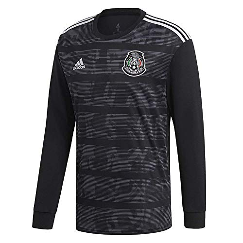 adidas Mexico Home Jersey Men's Soccer Long Sleeve (L) Black