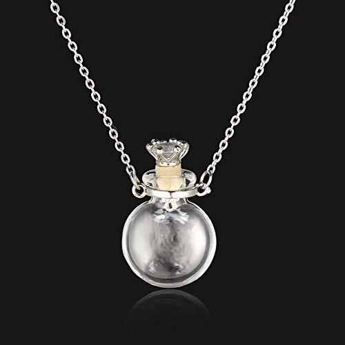 Cadena de acero abierta gota de agua Corazón recuerdo Perfume Joyería Memorial Joyería Colgante de aceite esencial Glaze Vial Collar (oblate)