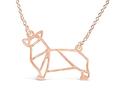 Rosa Vila Corgi Necklace, Corgi Origami Necklace, Corgi Gifts Perfect For Dog Lovers, Dog Jewelry For Women, Dog Necklaces For Lovers Of Corgis, Gift For Corgi Lovers (Rose Gold Tone)