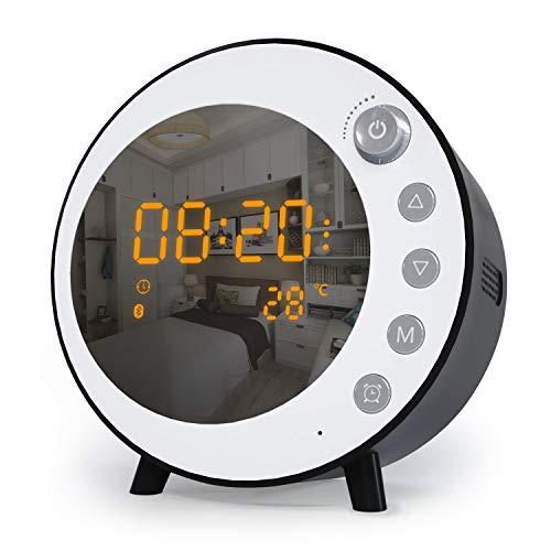 Jim's Store Despertador con Altavoz Bluetooth, Radio Despertador con Micrófono, Soporte Llamada Manos Libres, Alarma Doble,Tarjeta TF, LED Pantalla (Negro-Blanco)