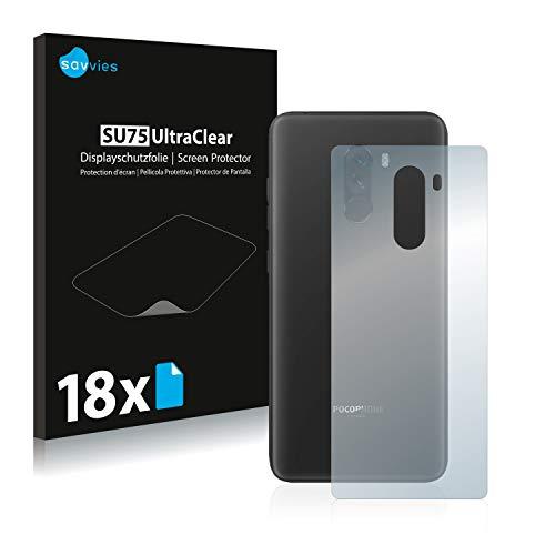 savvies 18-Pezzi Pellicola Protettiva Compatibile con Xiaomi Pocophone F1 (Posteriore) Protezione Schermo Trasparente