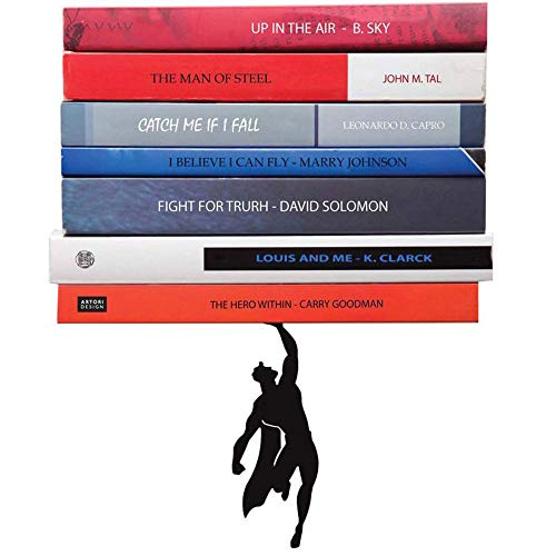 Artori Design Supershelf | Sujetalibros de superhéroe metálico en color negro | Sujetalibros encubierto | Estante oculto | Estante para libros original | Regalos para geeks | Regalos para lectores | Apilador de libros único