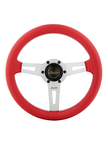 Luisi Italy Racing Volant Sharav 315 Rouge Cuir Rayons Argent 315 mm
