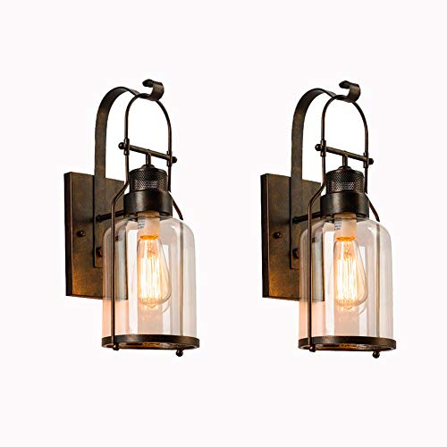AußenWandleuchte Retro Aussenleuchten Antik Außenlampe Bronze Loft Wandlampe Wasserdicht IP23 Eisen 2-Flammig Wandleuchten Glas Schatten E27 Flur Terrasse Bar Café Hauseingang Hof (2Pcs)