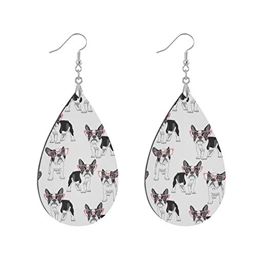 French Bulldog With Pink Glasses On White Copper Plated Silver Earring MDF Wood Drop Lightweight Earrings