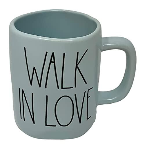 """Rae Dunn Tasse aus der Artisan-Kollektion von Magenta mit der Aufschrift """"Walk in Love"""", Blau"""