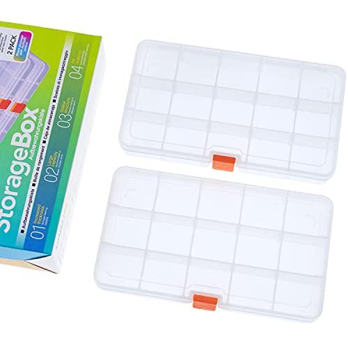 SOMELINE Caja de almacenamiento de plástico transparente para joyas con aguja e hilo de almacenamiento con separadores extraíbles, caja de herramientas 15 rejillas, 2 paquetes