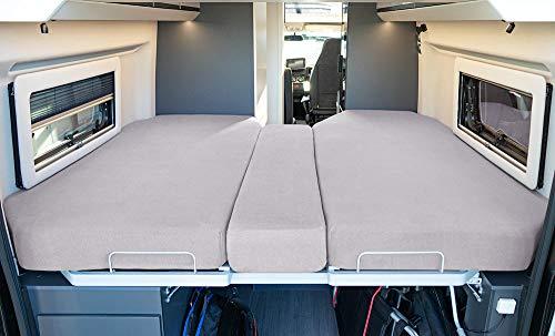 LIVING AIR Wohnmobil Spannbetttuch Set 3 teilig - 2 Längsbetten + Mittelteil - geeignet für alle FIAT Ducato, Citroen Jumper, Peugeot Boxer (Wohnmobile/Wohnwagen) - Spannbettlaken für Heckbett (Grey)