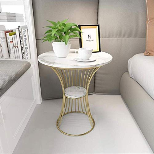 H-CAR Side Table Coffee Table End Table Side Table Wrought iron End Table round coffee table with Metal Frame Snack Table for Living Room Furniture, 52 * 60cm Sofa Table End Tables (Color : White-B)
