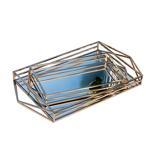 KNJF Dekorative Tray für Heim Dekorative Gold-Vanity Tray Mirrored Parfüm-Behälter for Anzeige, Schmuck, Kommode und Bad, Elegantes Spiegeltablett Schmuck Tray (Color : Gold, Size : 43x20x5.5cm)