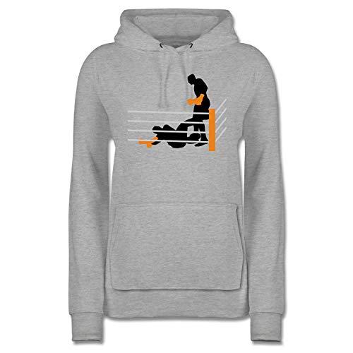 Kampfsport - Boxer am Boden K.O. geschlagen - S - Grau meliert - Boxer - JH001F - Damen Hoodie und Kapuzenpullover für Frauen