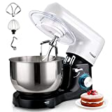 Stand Mixer, <span class='highlight'><span class='highlight'>Elegant</span></span> Life 5.5L Mixer for Baking, 6 Speeds 1500W Tilt-Head Food Mixer, Removable Stainless Steel Mixing Bowl, Kitchen Mixer Includes Beater, Dough Hook, Whisk and Cover, Black & White