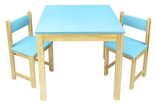 Merkell Kindertisch und 2 Stühle aus Holz - Blau Tisch Kinderstuhl für Kinder, Kindersitzgruppe, Tischgarnitur, Dim: 54,5 cm (H)