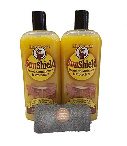 Howard SunShield Outside Wax for Wood, 2 x16 Ounce Bottles, Furniture Wax with UV Protection, Protect Outdoor Furniture from Sun and Moisture Damage
