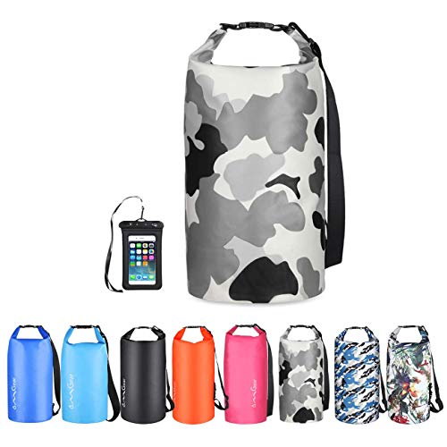 OMGear Waterproof Dry Bag Backpack Waterproof Phone Pouch 40L/30L/20L/10L/5L Floating Dry Sack for Kayaking Boating Sailing Canoeing Rafting Hiking Camping Outdoors Activities (camouflage3, 10L)