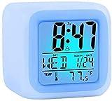 Orologio Sveglia colorata, Sveglia che cambia colori, Orologio luminoso colorato Calendario perpetuo a quattro lati, amichevole con display della temperatura interna per lavoro genitori, studenti