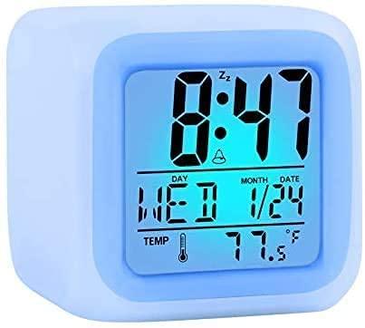 Reloj Despertador Colorido, Reloj Despertador Que Cambia de Color, Reloj Despertador Digital con Pilas, indicador de Fecha, función de repetición de 12 24 Horas -para Dormitorio, hogar, Oficina