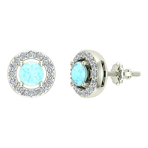 Pendientes Aguamarina Diamante para mujer-niña Oro Blanco 14K Azul Cielo Natural