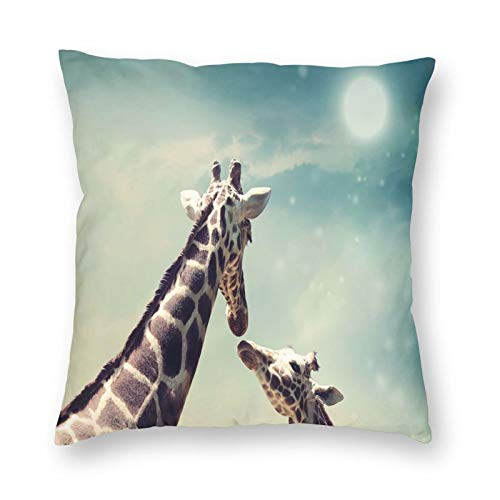 Throw Pillow Cushion Cover,Two Animals Mother And Baby Friendship And Love Illustration Clouds And Moon 16'x16', Decorative Square Accent Pillow Case
