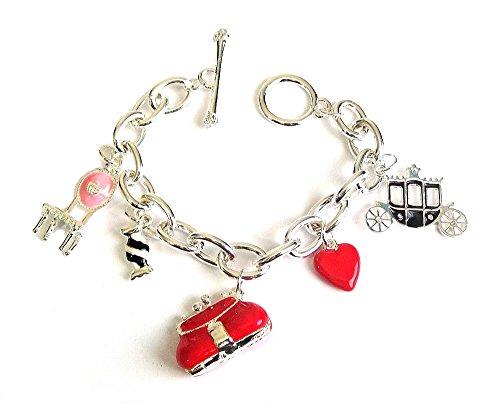 Braccialetto da donna con ciondolo a forma di cuore rosso per sedia, borsa e borsetta, in argento, regalo per donne e ragazze