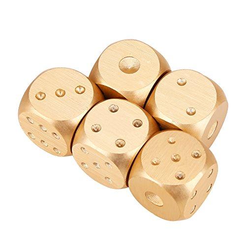 Tischspiel Würfel, Metall Würfel Polyedrische Würfel Set mit Aufbewahrungsbox für Tischspiele, Pokerspiele,Pokermonopoly-Rechteck-Box, Goldfarben, 5 Stück