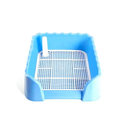 Caja de Arena para Gatos práctica y fácil de Limpiar NSYNSY Inodoro para Perros, Orinal para Mascotas para Interiores Bandeja para Entrenamiento de Cachorros con Rejilla Cuadrada y Poste para orinar