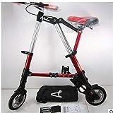 Multifunción para Bicicleta Plegable De 8 Pulgadas De Bicicletas Transportar Fácilmente Plegable Hombres Y Mujeres De Tipo Variable (Red)