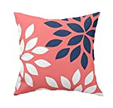 GETTOGET Navy and Coral Floral Pillow Case Cover Cotton Polyester with Hidden Zipper Decorative Home Decor Square Indoor/Outdoor 16x16 in