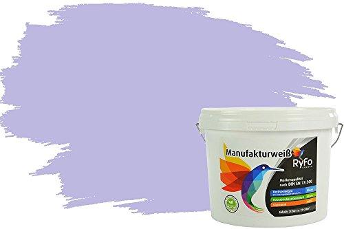 RyFo Colors Bunte Wandfarbe Manufakturweiß Flieder 3l - weitere Blau Farbtöne und Größen erhältlich, Deckkraft Klasse 1, Nassabrieb Klasse 1