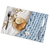 Osmykqe Tapete de Mesa Copa Capuchino Croissant Azul Pastel Gigante Juego de 6 tapetes Antideslizantes para Comedor y Cocina Manteles Individuales