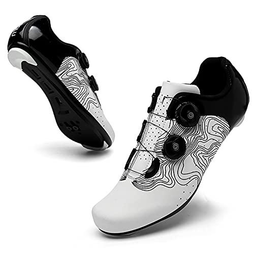 WPW Calzado de Ciclismo para Hombre, Compatible con La Bicicleta de Carretera de Montaña Interior Peloton SPD Calzado para Tacos Delta Clip para Bloquear El Pedal