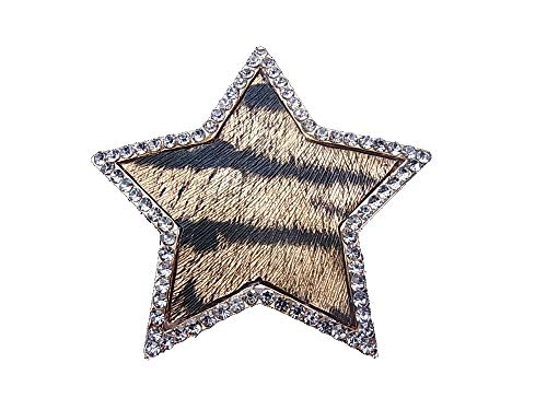 Brooch, magnetic brooch, scarf clip, clothing, poncho, bags, pen, textile jewellery, star, fur, tiger pattern, rhinestone.