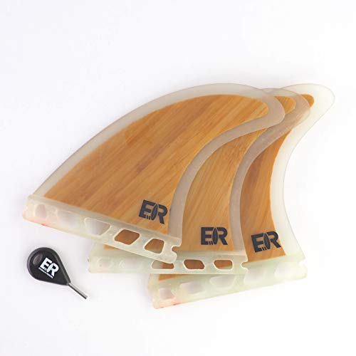 Eisbach Riders Surfboard FCS/Future Bamboo Fiberglass Fin Thruster Set con Fin Key (tamaño mediano) – Aletas para tabla de surf y SUP (Future)