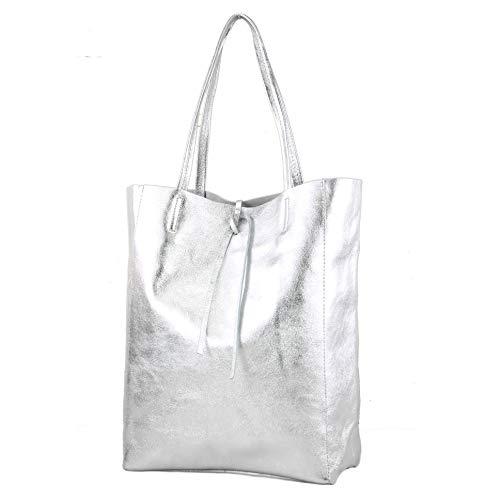 modamoda de - T163 - Ital. Shopper Large mit Innentasche aus Leder, Farbe:Silber-Metallic