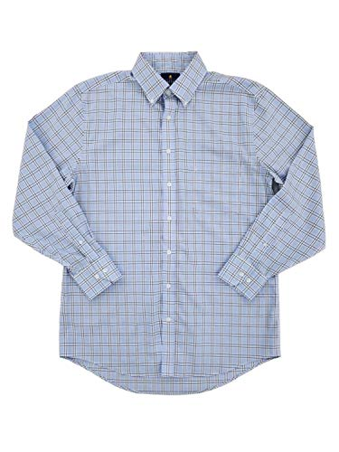 Mens Blue Window Grid Executive Pinpoint Oxford Button-Down Shirt 15.5/32-33