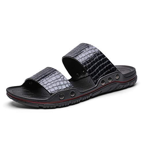 Liangcha-0401 Zapatillas para Hombres Slide Sandals Slip on PU Superior Color Sólido Lite Textura Soles Soles Soluciones de Rivet Set Zapatos de Playa (Color : Blue, Size : 43 EU)