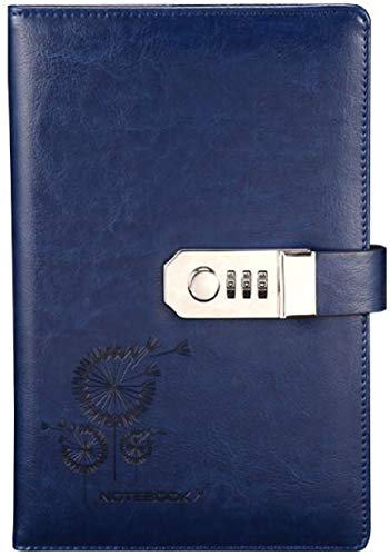 """Journal ( Size: A5 8.35"""" X 5.8"""" ) With Combination Lock Lined Page (Diary Notebook With passcode), Executive Hardcover Buiness PU Leather Password Memo Notepad (Option2)"""