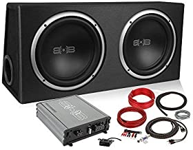 Belva 1000 watt Complete Car Subwoofer Package Includes Two (2) 10-inch Subwoofers in Ported Box, Monoblock Amplifier, Amp...