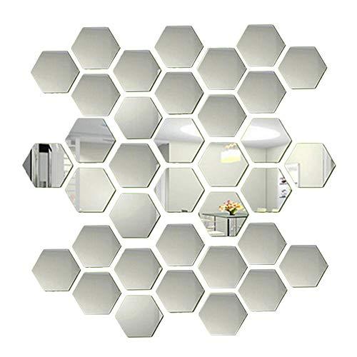 36 de azulejos hexagonales de espejo autoadhesivo para decoración de paredes, calcomanía plateada 3D con efecto, pegatinas de pared pequeñas murales decorativos para el hogar sala de estar dormitorio