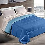 HomeLife Piumone Invernale Matrimoniale 260X240 Made in Italy Blu/Azzurro| Piumoni Letto Invernale Double Face | Trapunta Matrimoniale Anallergica Calda | Piumino Colorato Bicolore| Blu/Azz 2P