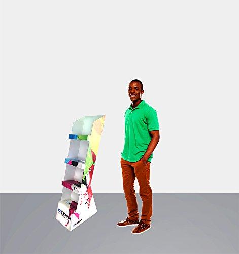 Expositor Publicitario X4 100% Personalizado | Medidas 0,51 m x 1,267 m |Cartón microcanal Doble 2,6 mm | Impresión Completa y Personalizada | Ligero, Resistente y recicable